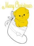 Teddy bear in felt boot. Plush teddy bear in felt boot christmas card Stock Images