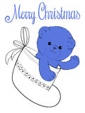 Teddy bear in felt boot. Plush teddy bear in felt boot christmas card Stock Photography