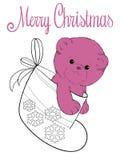 Teddy bear in felt boot. Plush teddy bear in felt boot christmas card Royalty Free Stock Photos