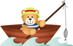 Teddy bear fishing in a boat. Scalable vectorial image representing a teddy bear fishing in a boat, isolated on white Royalty Free Stock Image