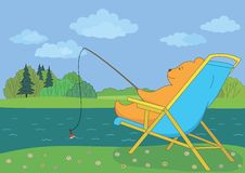 Teddy bear fishing in forest river Stock Photography