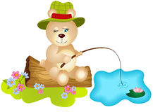 Teddy bear fishing. Scalable vectorial image representing a teddy bear fishing, isolated on white Stock Image