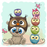 Teddy Bear and five Owls royalty free illustration
