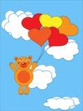 The Teddy bear flies on air ball. The Festive postcard Royalty Free Stock Photos