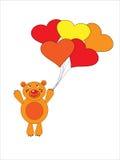 The Teddy bear flies on air ball. The Festive postcard Stock Photo