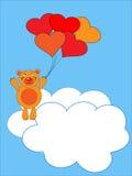 The Teddy bear flies on air ball. The Festive postcard Stock Photos
