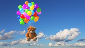 Teddy Bear Flies Away on Multicolored Balloons against Time-Lapse Sky Background, Beautiful 3d Animation. Ultra HD 4K