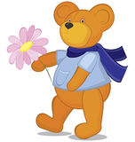 Teddy bear with flower in blue scarf Stock Images