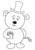 Teddy bear with flower in cylinder, contour vector illustration