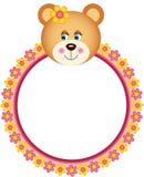 Teddy Bear with Flower Frame Stock Photo