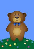 Teddy bear on a flower meadow Stock Images