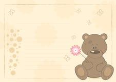 Teddy bear with flower (postcard) Royalty Free Stock Photo