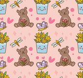 Teddy bear and flower seamless pattern. Can be use as wallpaper, invitation card and other creative purposes royalty free illustration