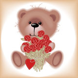 Teddy Bear with flowers. Royalty Free Stock Photos
