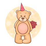 Teddy Bear with flowers Stock Photography