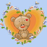 Teddy Bear with flowers Stock Images