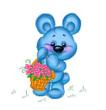Teddy bear with flowers card Royalty Free Stock Images