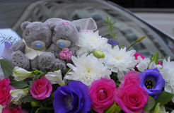 Teddy bear. With flowers decoration for wedding Stock Photography