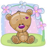 Teddy Bear with flowers Royalty Free Stock Photo