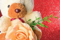 Teddy bear with flowers in valentines day on red glitter bokeh lights Blurred abstract background Stock Photo