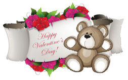 Teddy bear and flowers Stock Photography