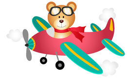 Teddy bear fly on a airplane Stock Photo
