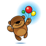 Teddy bear flying with color balloons Royalty Free Stock Photography