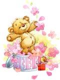 Teddy Bear fondo divertente per le carte di congratulazione del bambino Acqua illustrazione vettoriale