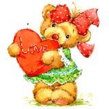 Teddy Bear Fondo para la enhorabuena watercolor Fotografía de archivo libre de regalías