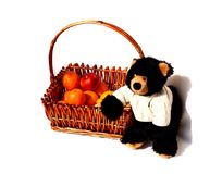 Teddy bear and fruits Royalty Free Stock Photo