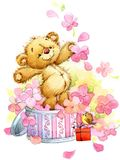 Teddy bear. funny background for kid congratulation cards. water vector illustration