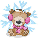 Teddy Bear in a fur headphones. On the backgroun of snowflake vector illustration