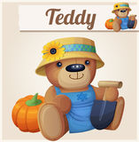 Teddy bear the Gardener Farmer. Cartoon vector illustration. Series of children toys Royalty Free Stock Image