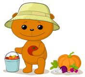 Teddy bear gardener with vegetables Royalty Free Stock Image