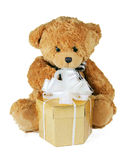 Teddy Bear with gift Royalty Free Stock Image