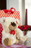 Valentine or birthday celebration Teddy bear and g Stock Photo