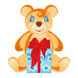 Teddy Bear with gift box Royalty Free Stock Photos