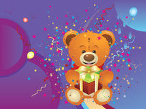 Teddy Bear with Gift Box Stock Images