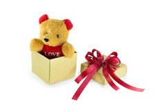 Teddy bear in the gift box Royalty Free Stock Images