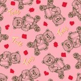 Teddy bear with gift box with ribbon, colorful patches and inscription, hand drawn doodle sketch, seamless pattern design on pink royalty free stock photos