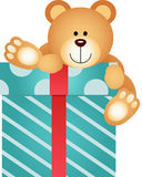 Teddy Bear on Gift Box Royalty Free Stock Photography