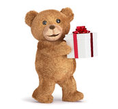 Teddy bear with a gift box Stock Photo