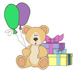 Teddy Bear  with gift boxes and balloon Stock Photography