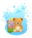 Teddy bear with gift boxes Stock Photos