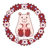 Teddy bear. Gift card, invitation. White, winter, cute, teddy bear, surrounded by a wreath of flowers, berries and leaves Royalty Free Stock Photos