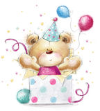 Teddy bear with the gift.Happy Birthday card. Teddy bear with the gift.Childish illustration in sweet colors.Background with bear and gifts and balloons. Hand royalty free illustration