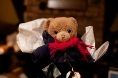 Teddy Bear Gift for the Holidays Stock Image