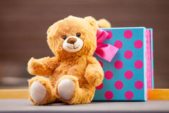 Teddy bear with gift Stock Photography