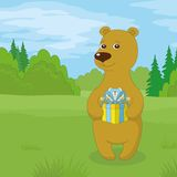 Teddy bear with gift on meadow Royalty Free Stock Image