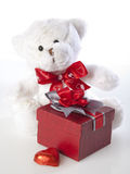 Teddy Bear and Gifts. Basic Valentine's Gifts, including chocolate, teddy bear and gift box on white Royalty Free Stock Photo